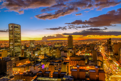 Bogotá sits at an average elevation of 8,660 feet above sea level (2,640 meters) with a population of approximately 8 million people.