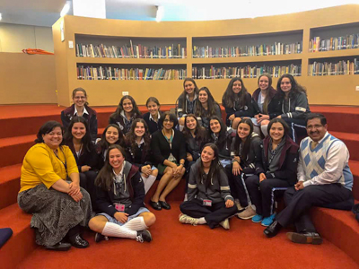 One of Dr. Kumari's final visits during her trip was to Colegio Marymount School with Liliana Manzanera (IBDP coordinator, Colegio Marymount) and IBDP students.