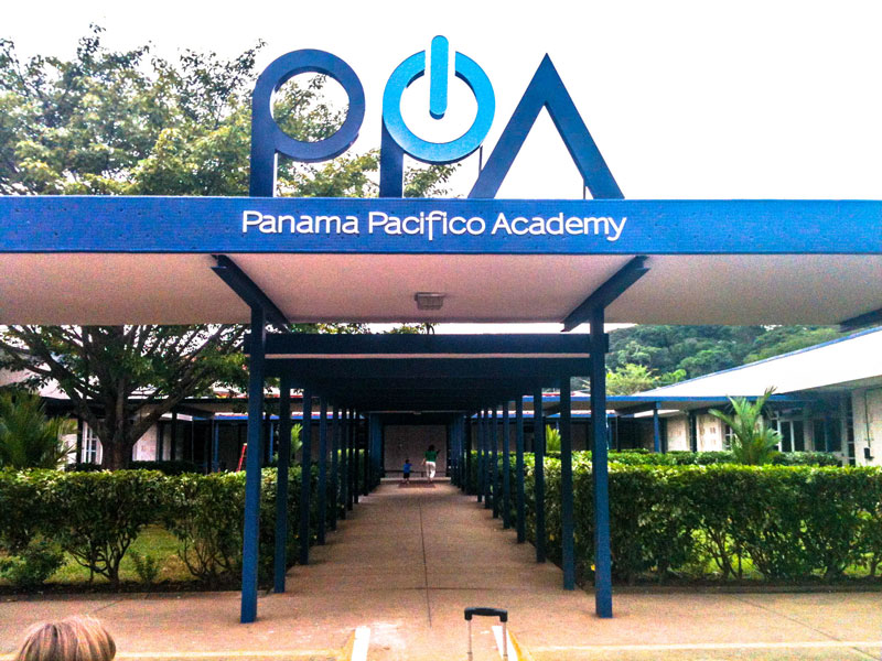 The Panama Pacifico Academy (PPA) sign at the entrance during the first year of operation, 2012.