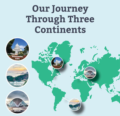 Our journey through three continents: North America, South America, and Europe.