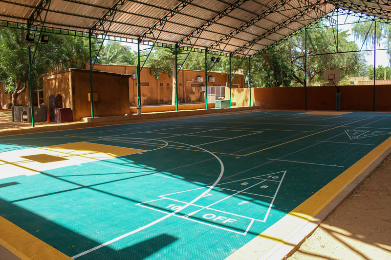 The covered court serves a variety of purposes ranging from physical education classes, assemblies, community events, and more.