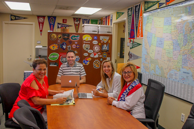Working hard with fellow college counselors in Florida, USA.
