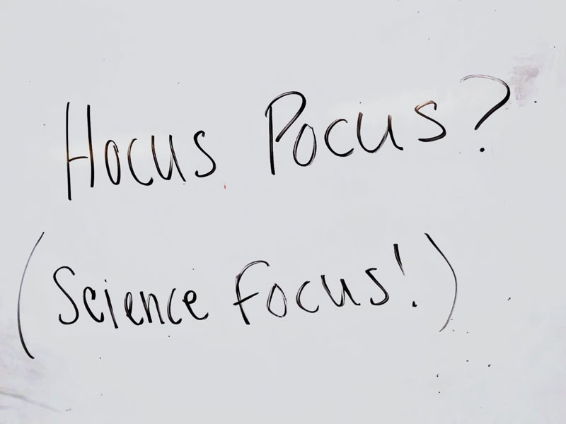 Nonverbal cue using the Hocus Pocus, Everybody Focus! call and response. My students and I love to experiment by changing the call and response according to the subject we are in. No matter what subject, the nonverbal cues are always the same: Tap (Hocus Pocus) and point (Science Focus!)!