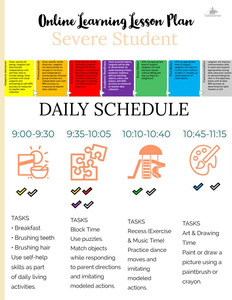 An example schedule I created from an old IEP with working parents in mind.