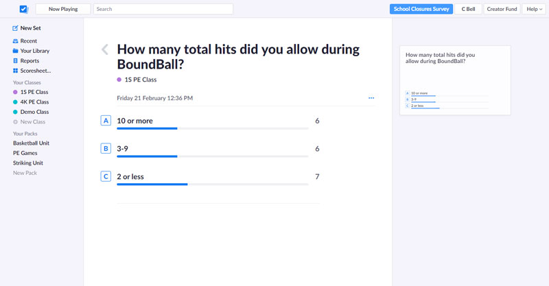 Plickers Cards program. Assessment question provided with results from students.