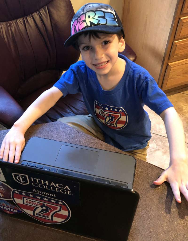 Pierce and his oddy accurate 'tornado' hat getting ready to shut the laptop approximately 19 minutes into his 3 hour lesson.