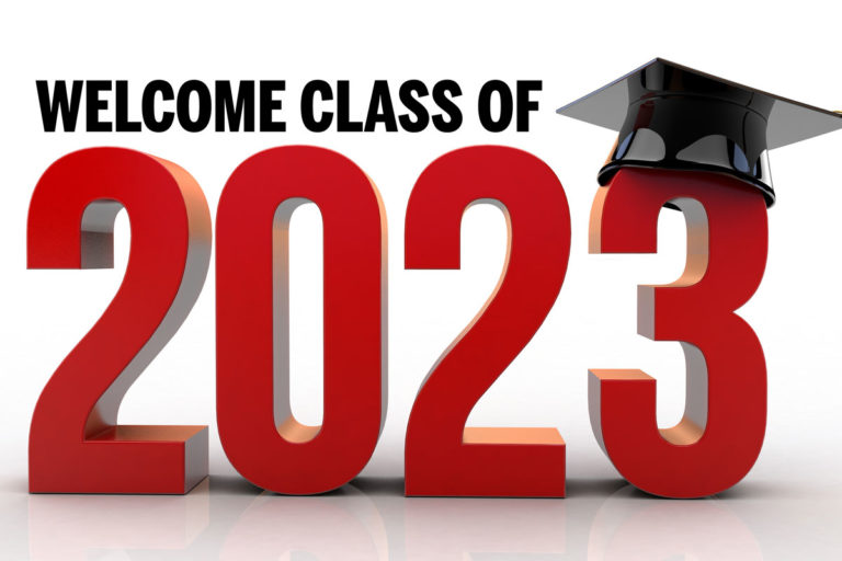 As I entered the doors closest to my room near the auditorium, my attention turned to the area right above the doors to a banner that read Welcome Class of 2023.